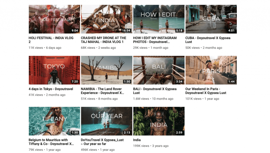 Another Youtube travel profile
