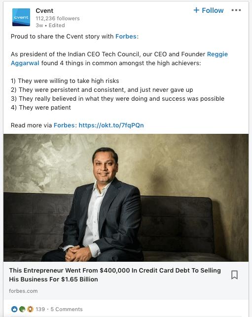 LinkedIn Cvent Post