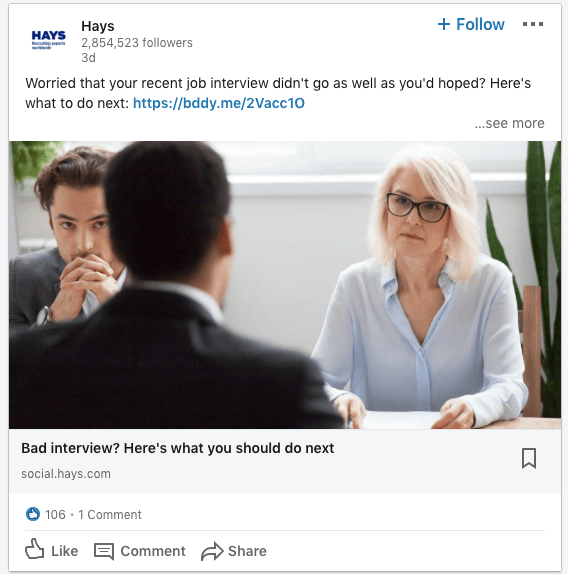 LinkedIn Hays Post