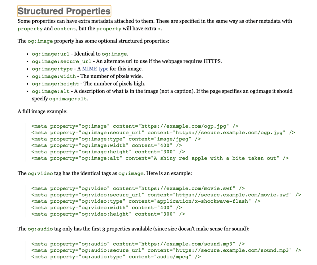 Facebook Debugger Structured properties