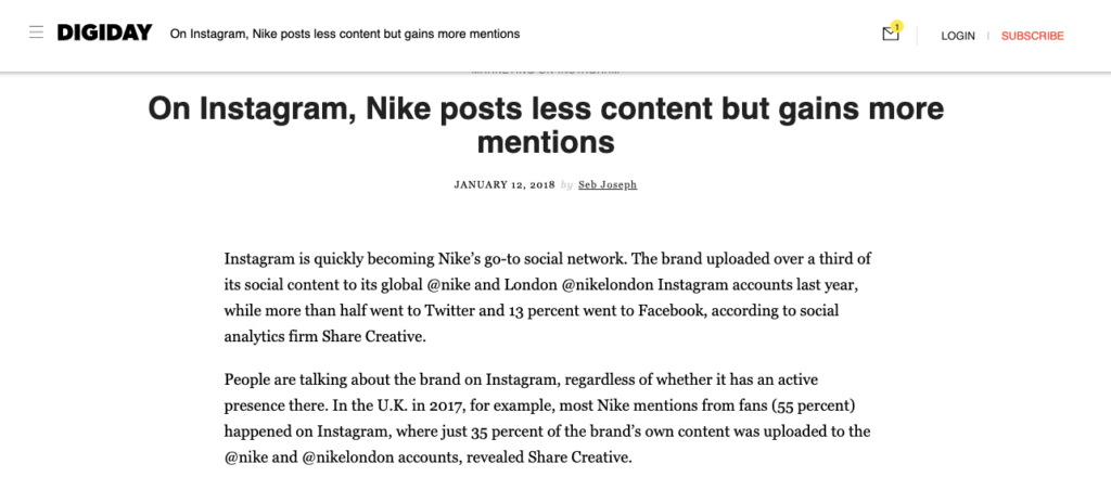 Instagram Nike posts less content