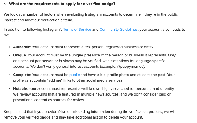 Instagram what are the requirements to apply verified account