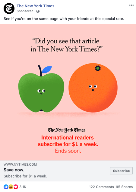 New York times' single image ad