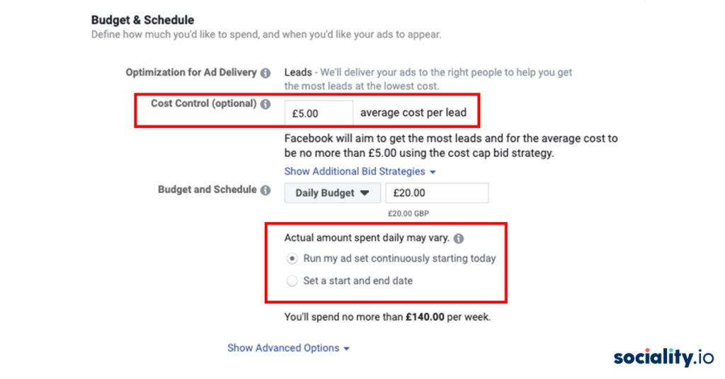facebook ads budget schedule