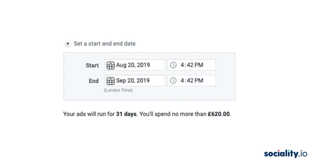 facebook ads set date