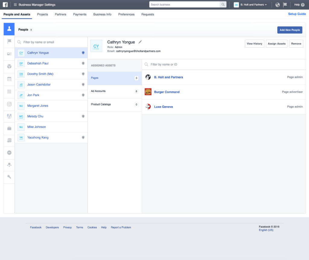 Facebook business manager people assets