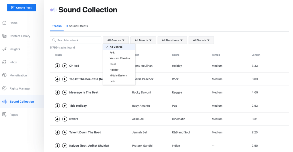 Facebook Creator Studio Sound Collection