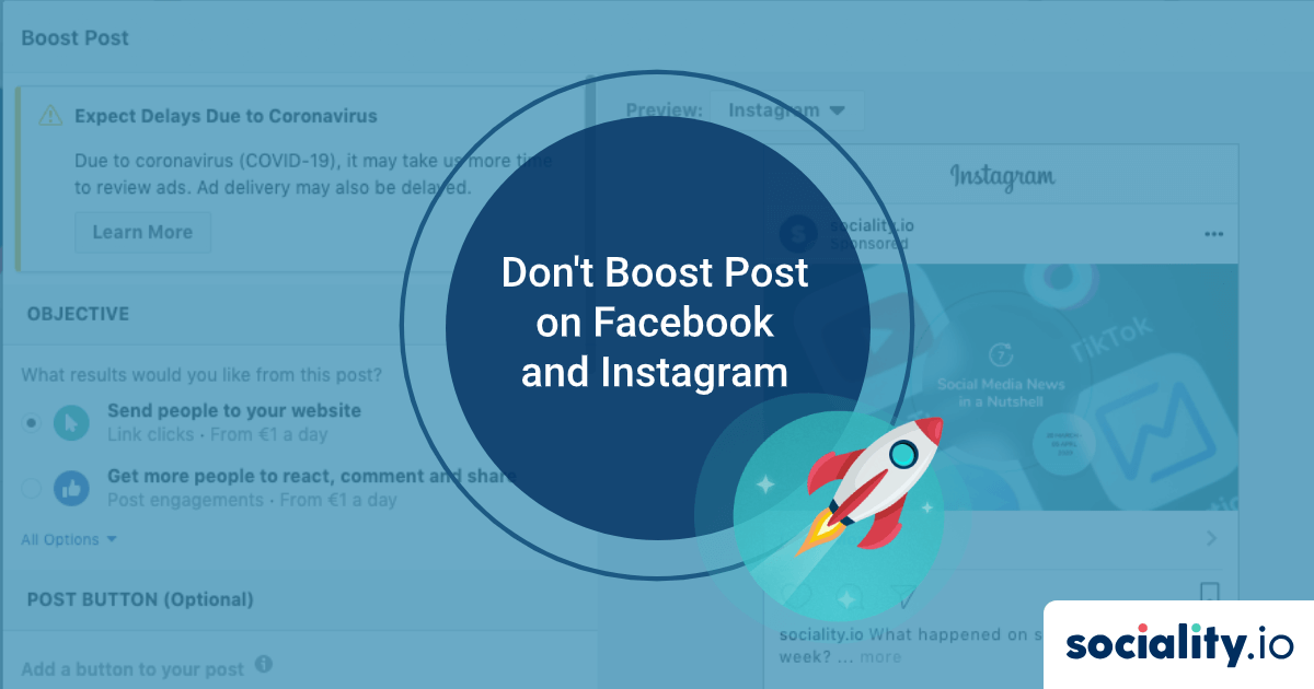 Don't Boost Post on Facebook and Instagram