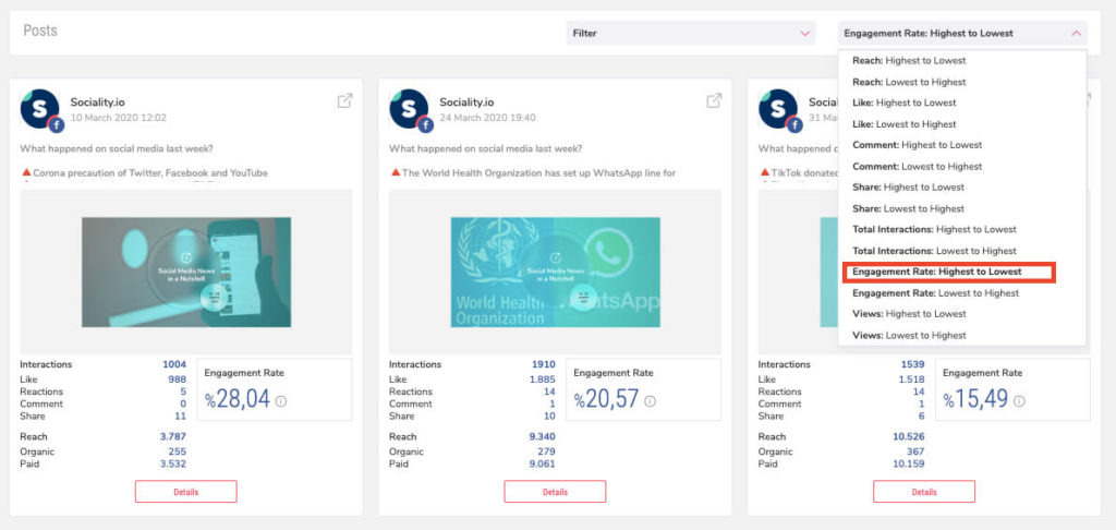Sociality.io Report - Engagement Rate Sorting