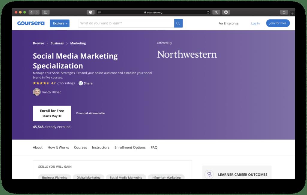 Northwestern Social Media Marketing Course