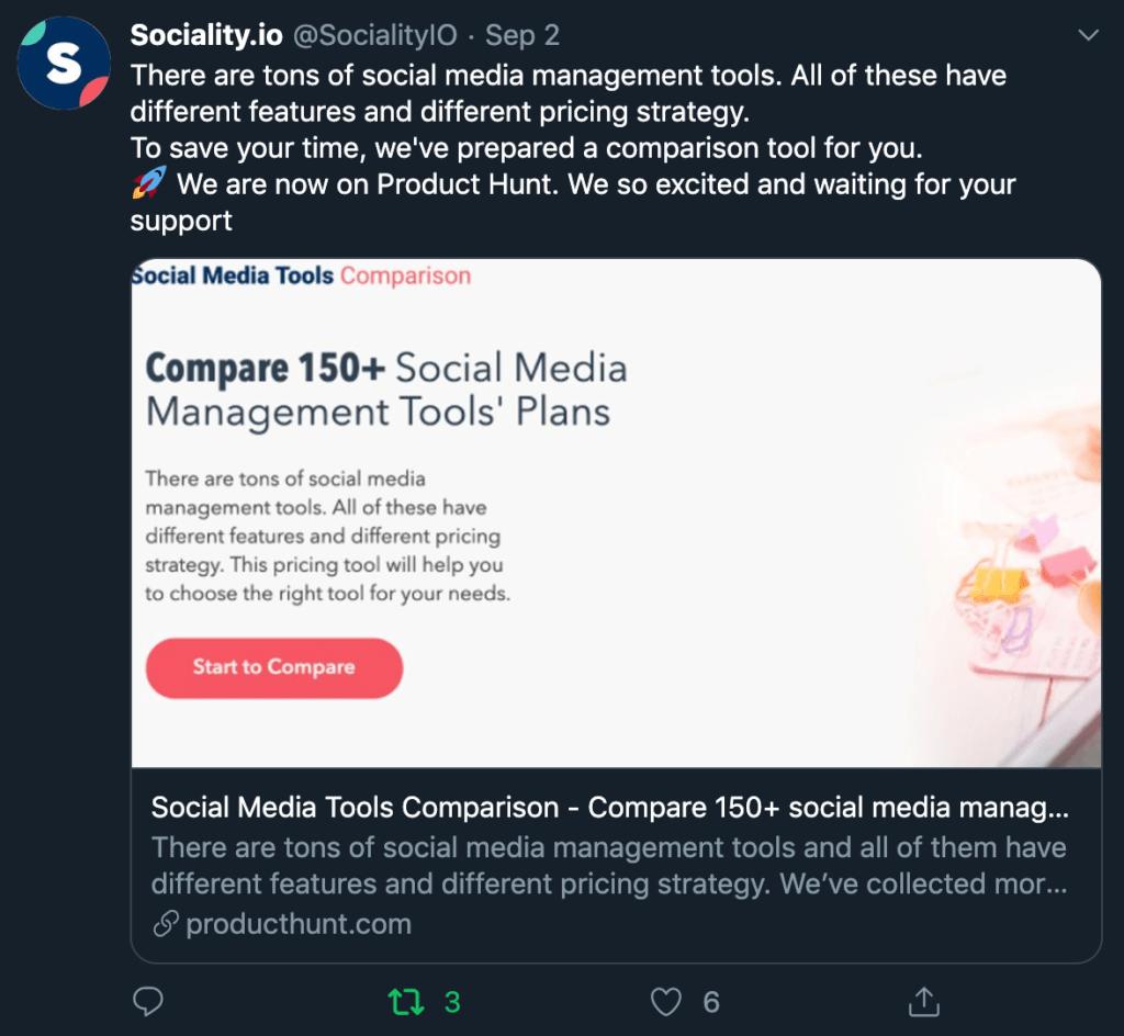Social media post example