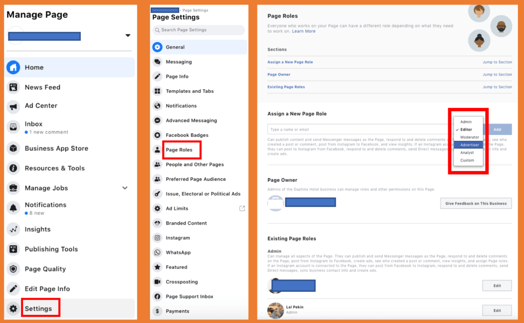 Facebook Manage Page Settings
