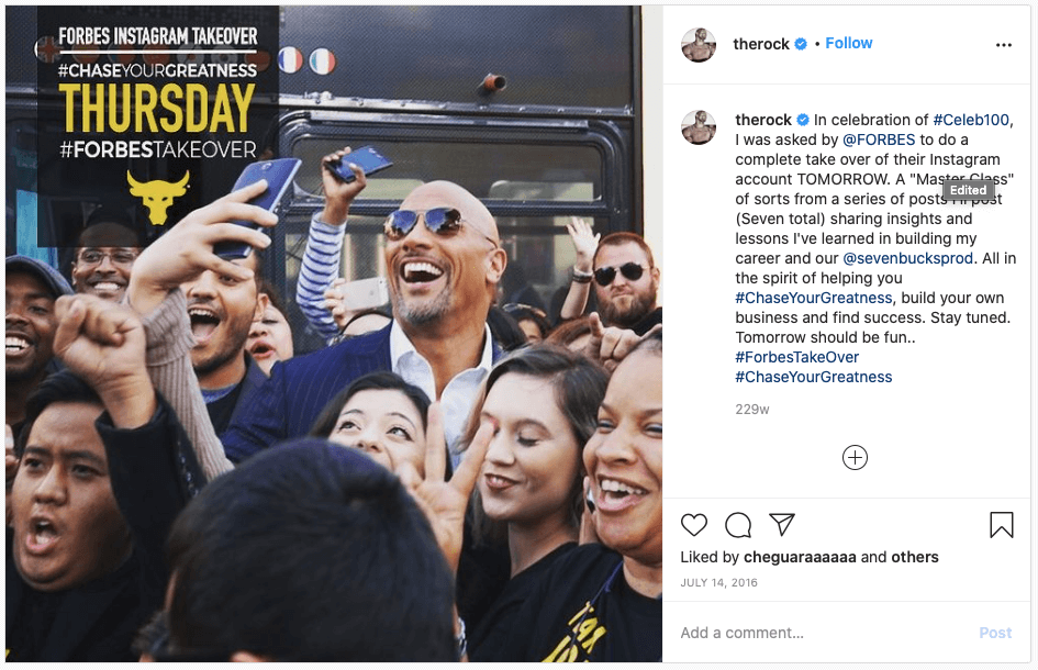 The Rock Instagram Account Take Over