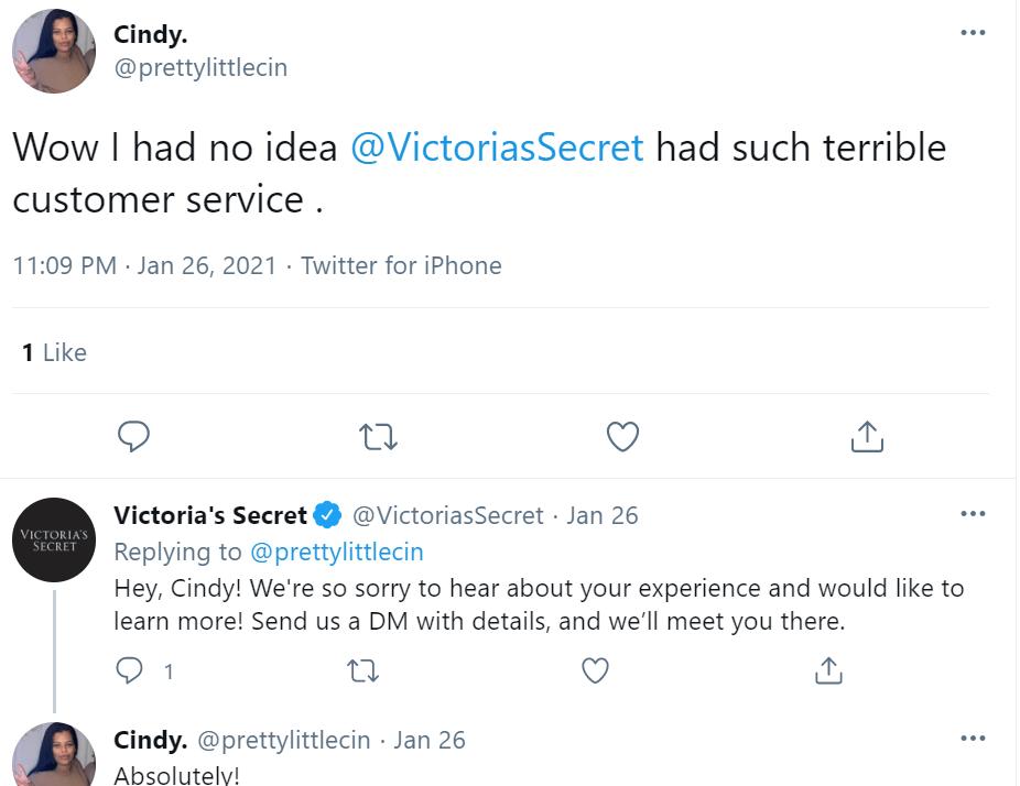 Victoria's Secret Tweet