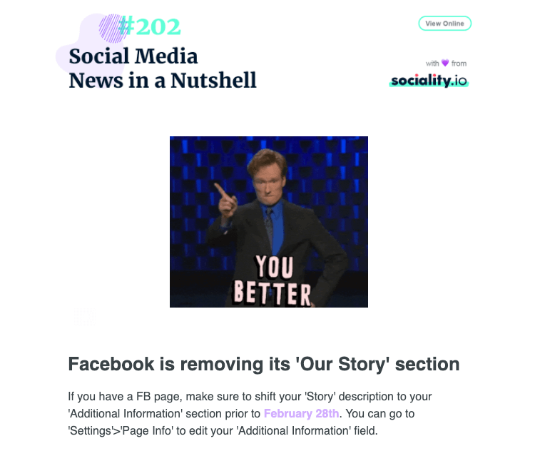 Sociality.io Social Media Newsletter