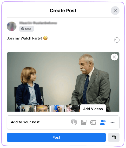 Facebook Watch Party Create Post Detail
