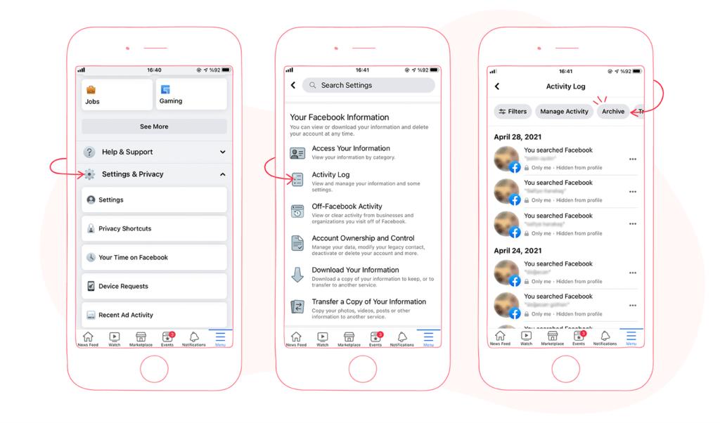 Facebook Mobile App Activity Log Archive