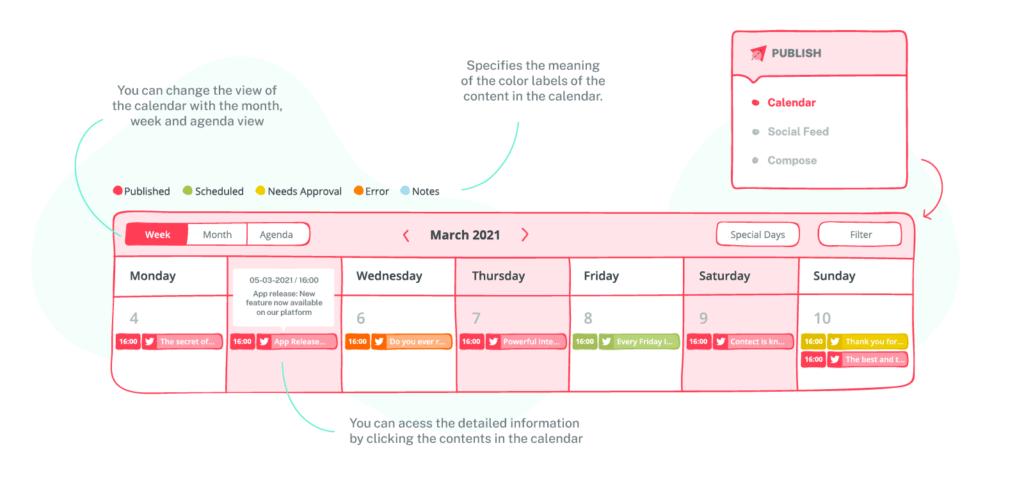 calendar view of sociality.io