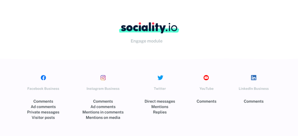 Sociality.io engage module feature set