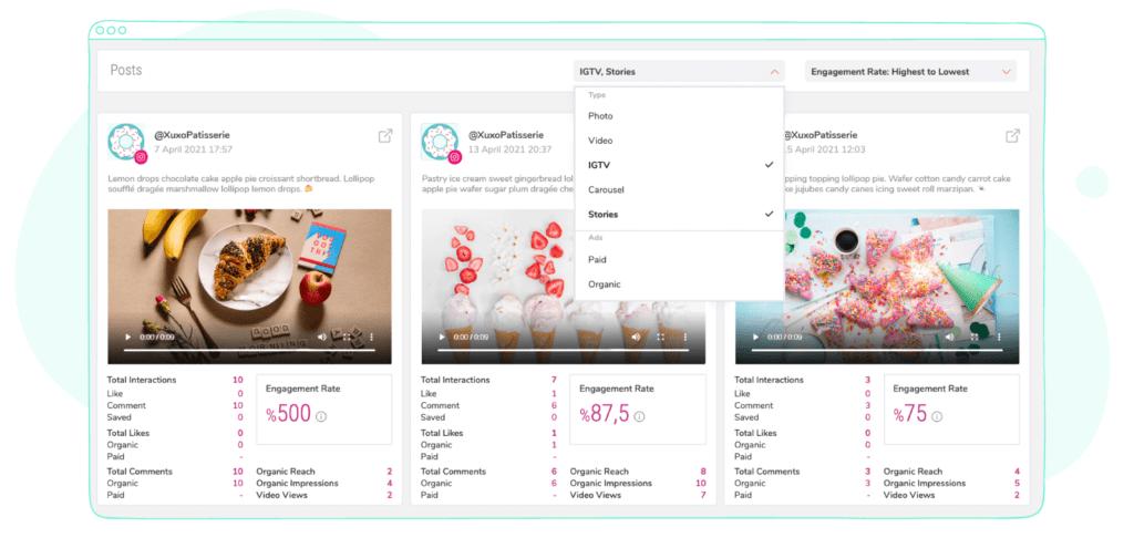 Instagram stories and IGTV metrics