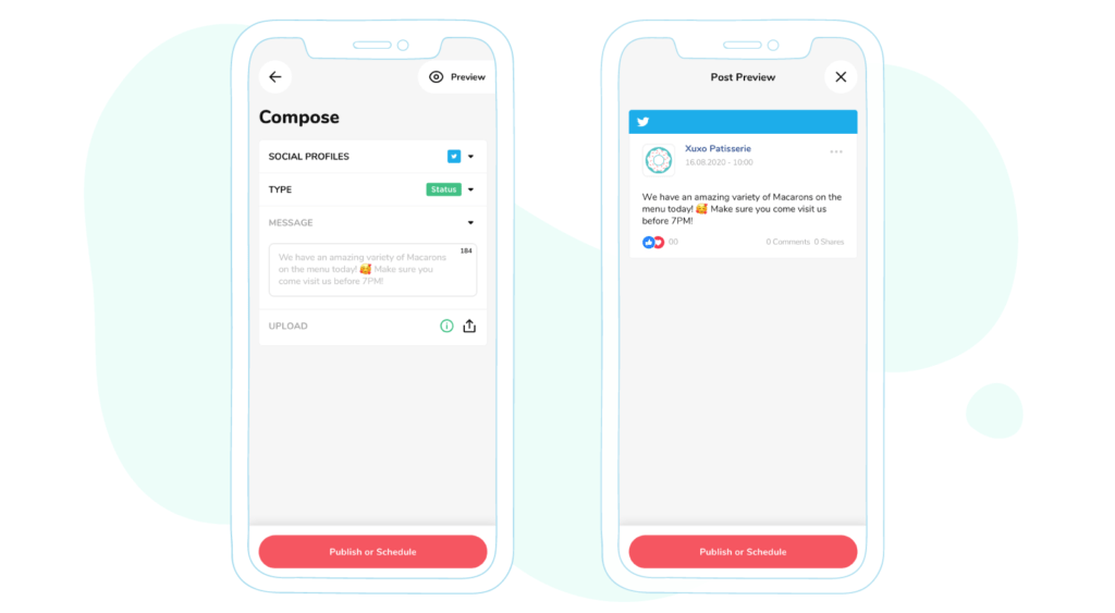 content preview in sociality.io mobile app