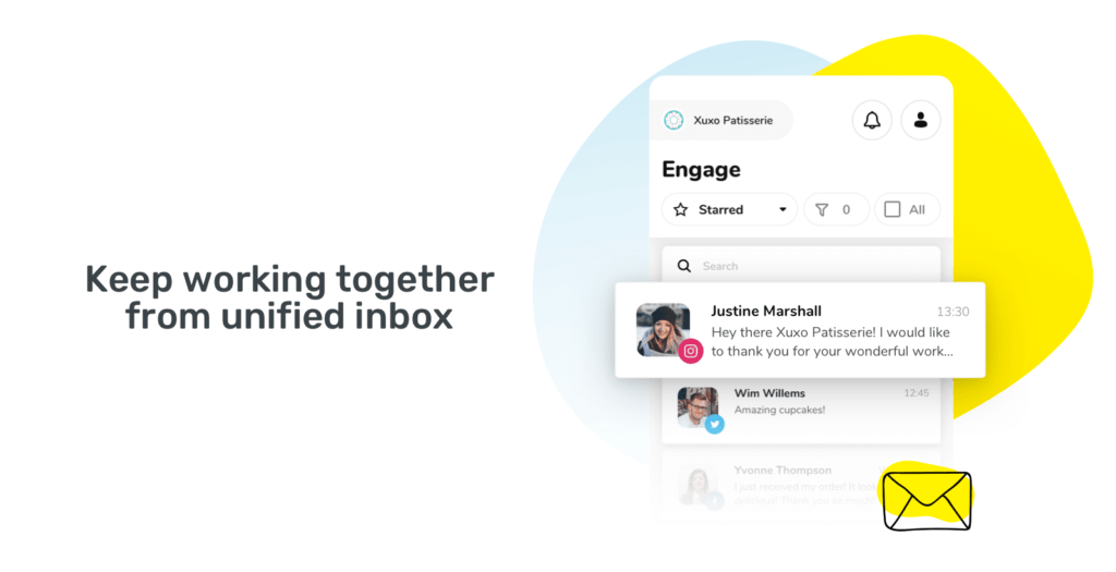 Unified inbox for all messages in sociality.io mobile app