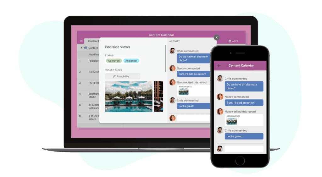 Airtable content calendar for desktop and mobile