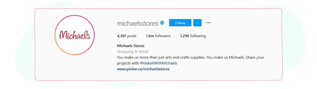 michaelsstores instagram bio