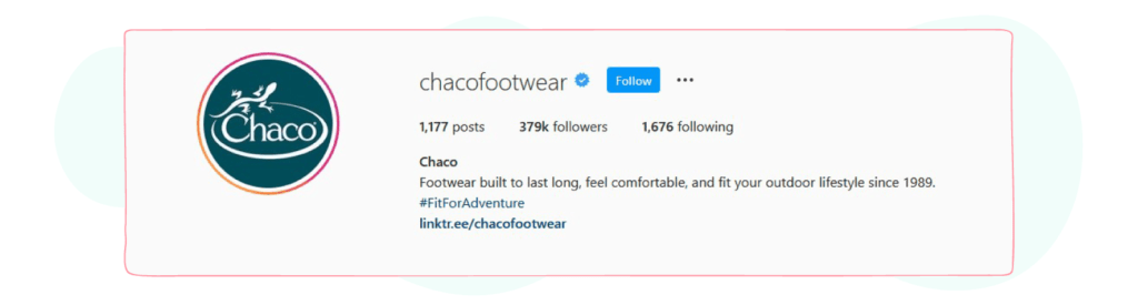 chacofootwear instagram bio