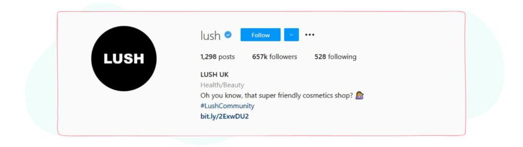 lush instagram bio