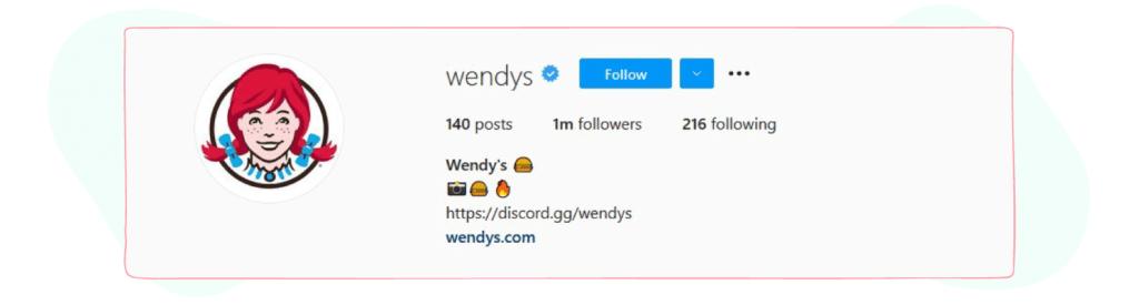 wendys instagram bio