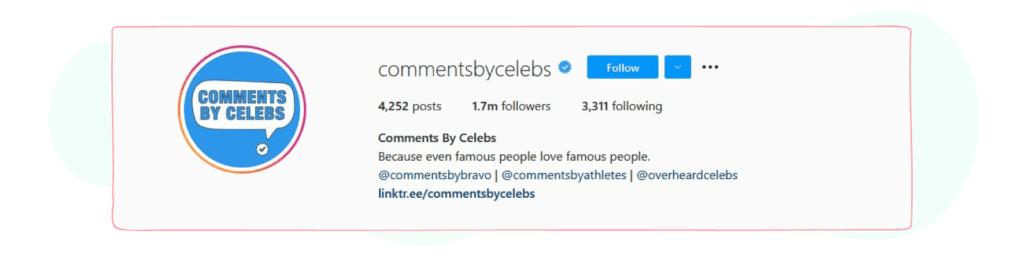 commentsbycelebs instagram bio