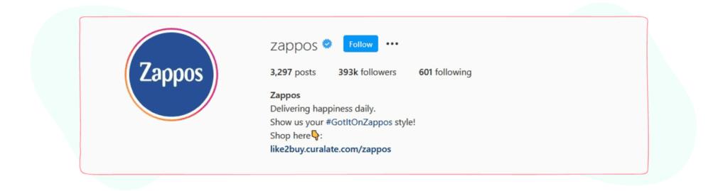 zappos instagram bio