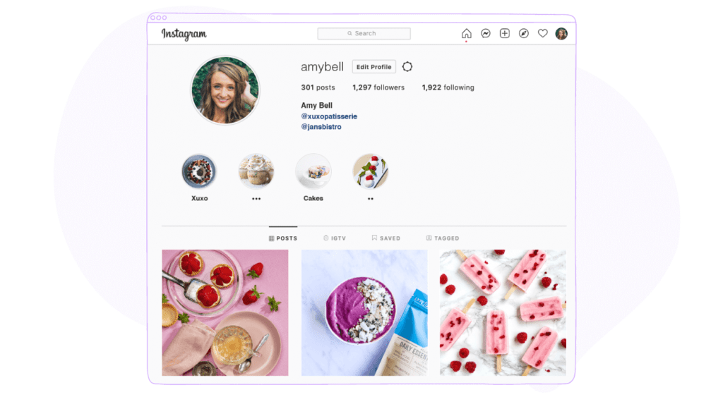 instagram profile page on PC
