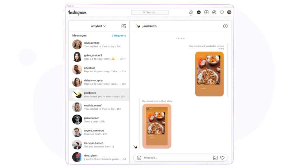 Instagram Messaging on PC