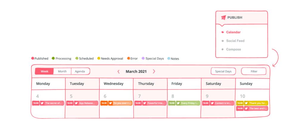 publish calendar of sociality.io