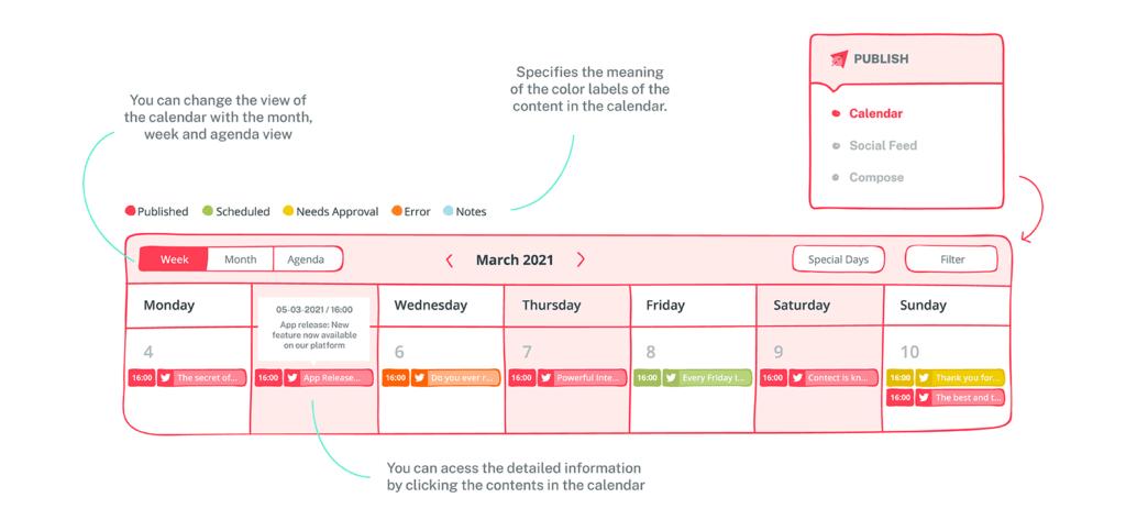Sociality's Publish module and social media calendar