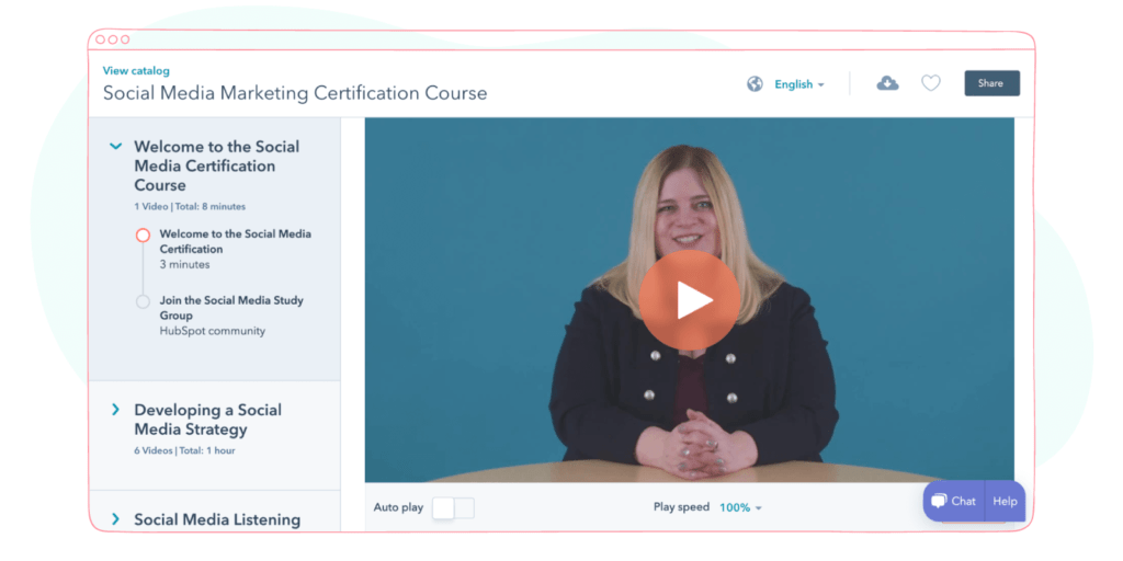 HubSpot's Social Media Strategy Certification Course