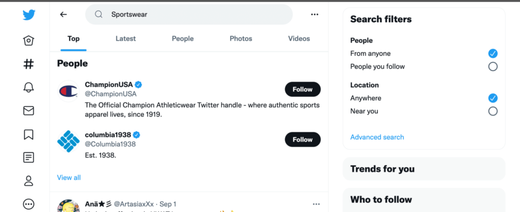 twitter search for competitor