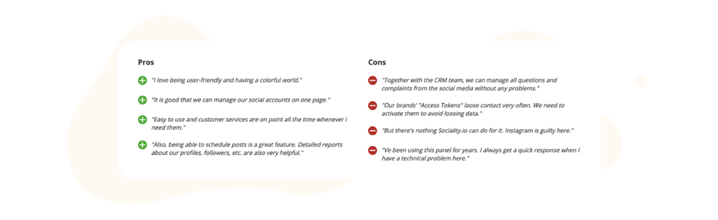 Sociality.io pros and cons table from capterra reviews