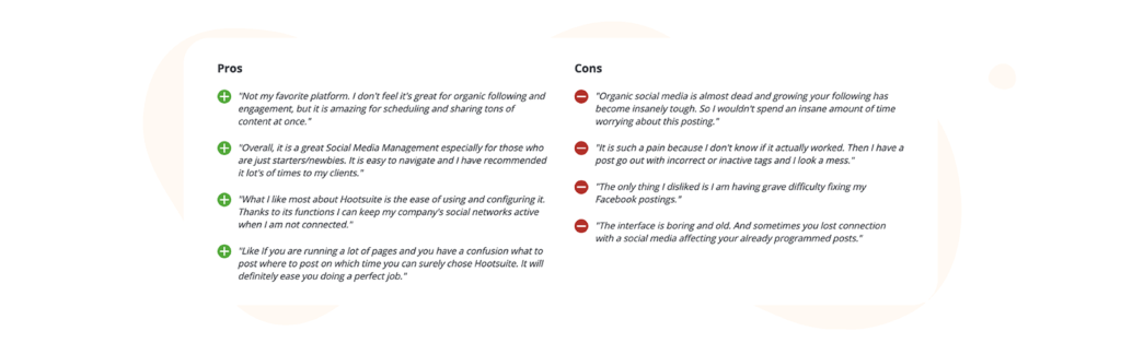 Hootsuite pros and cons table from capterra reviews