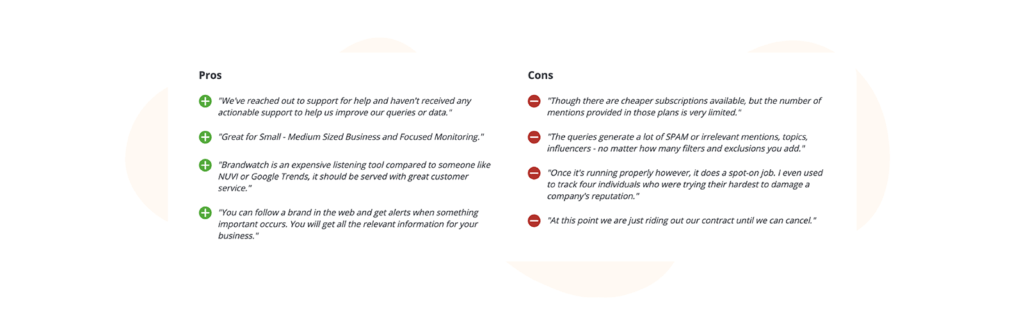 Brandwatch pros and cons table from capterra reviews
