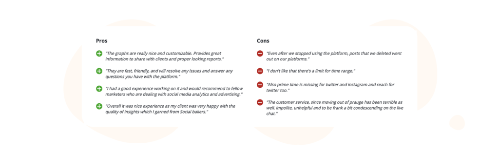 Socialbakers pros and cons table from capterra reviews
