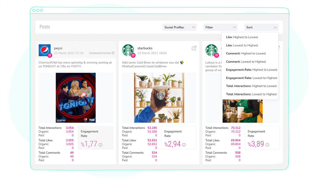 Sociality.io competitor analysis tools social profiles with sort and filter options