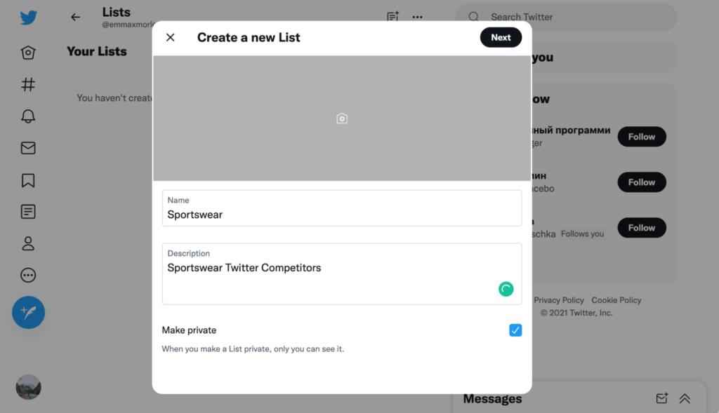 Twitter create new list