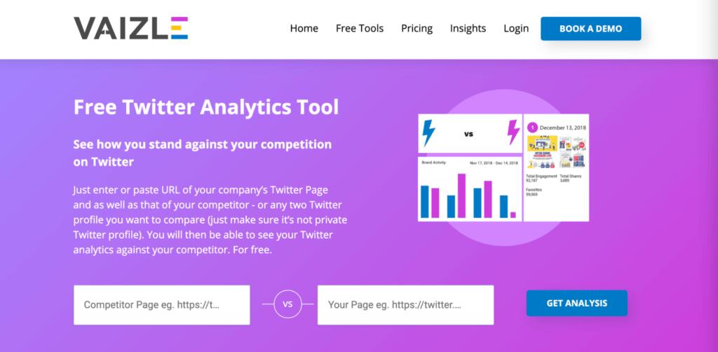 Vaizle twitter analytics tool