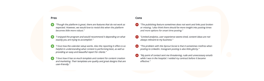 Sprout Social pros and cons table from capterra reviews