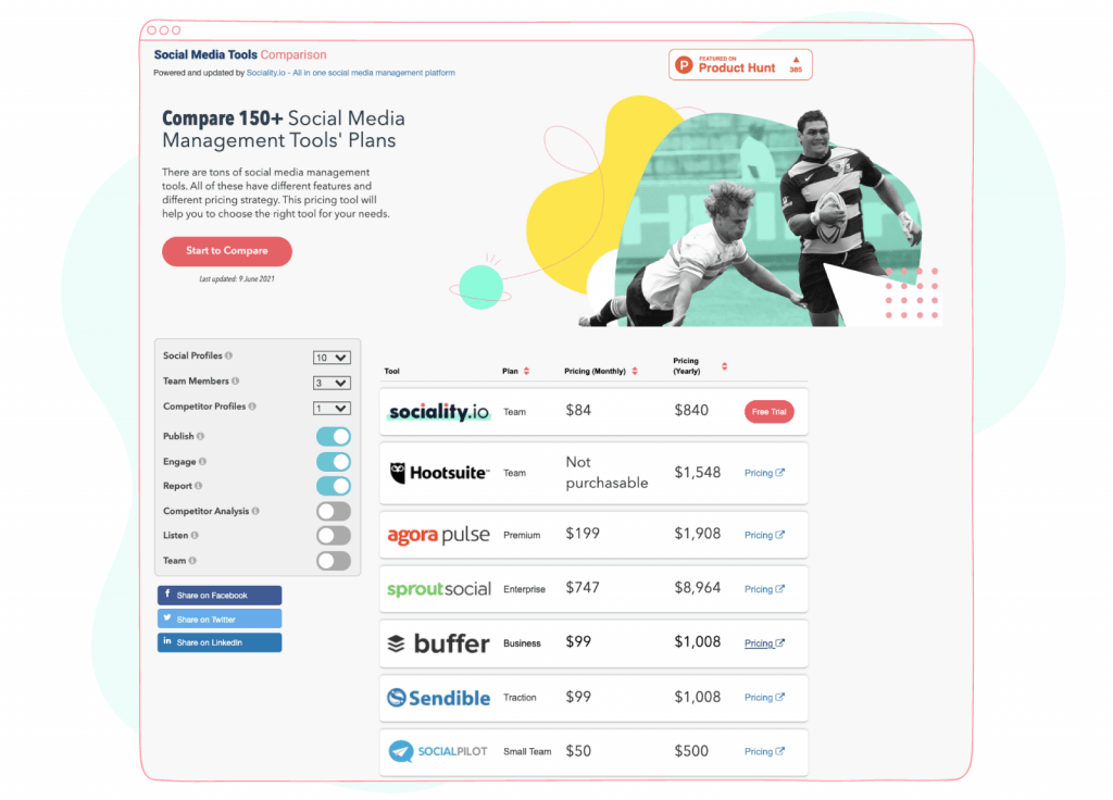 social media management tools comparison by sociality.io