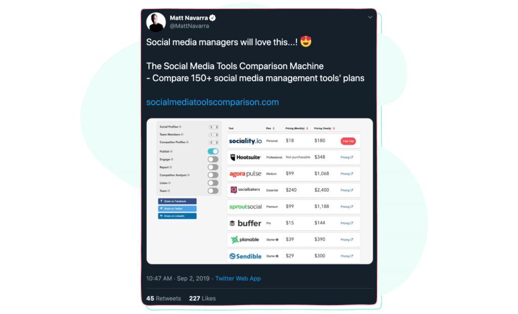 social media management tools comparison by Matt Navarra