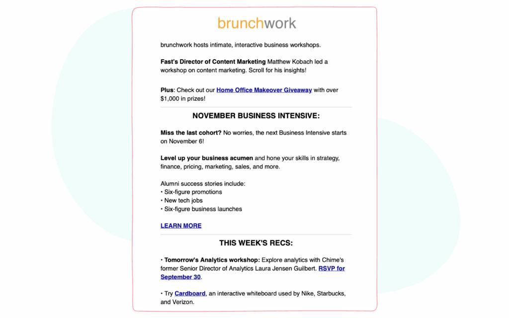 Marketing and Social Media Newsletters  - Brunchwork